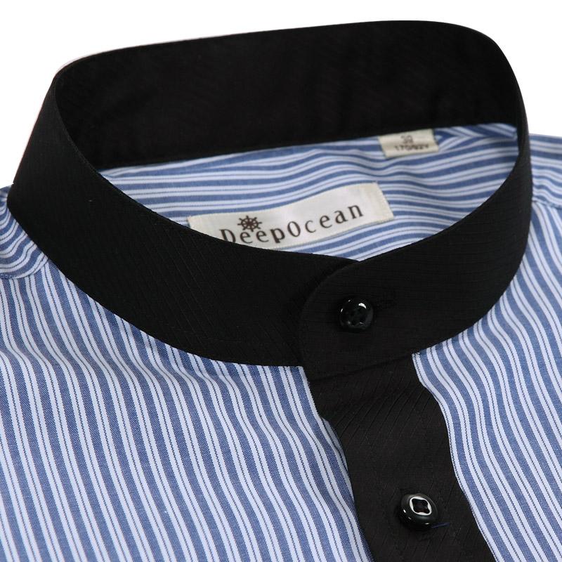 Рубашка мужская DEEPOCEAN 2013 Крашенный в пряже Воротник-стойка Короткие рукава (длина рукава <35см)
