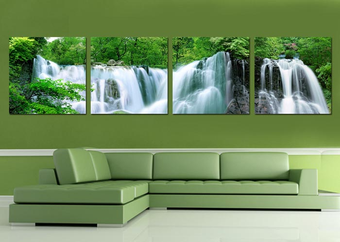Lan in accordance with Decorative painting frame painting modern living room bedroom mural wall painting landscape paintings Triptych Wall Falls