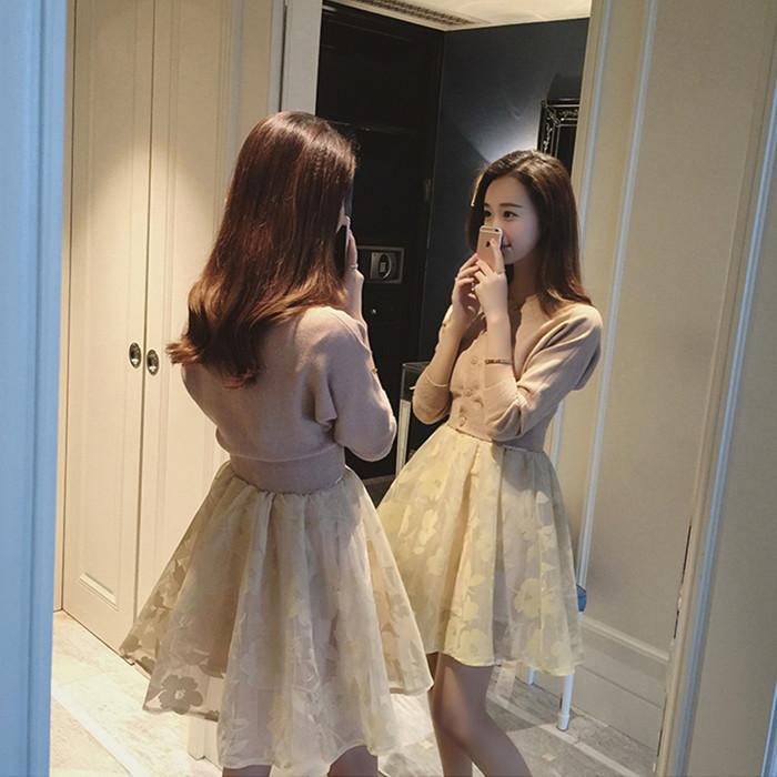 韩国2016春装新款小香风欧根纱打底裙针织外套两件套装连衣裙春秋