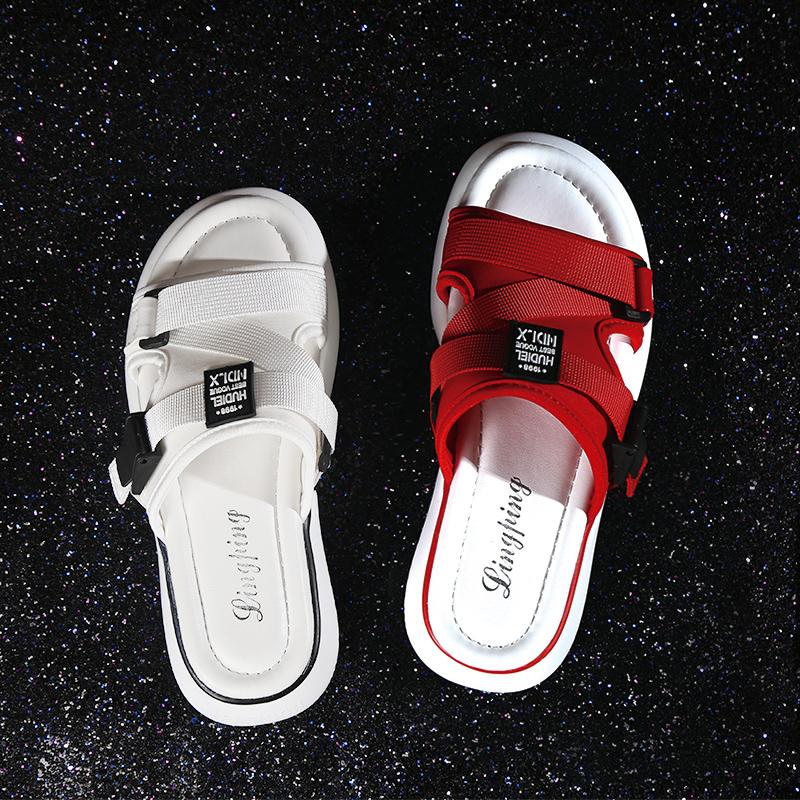 网红拖鞋女外穿时尚2020夏季新款情侣厚底孕妇大码半托沙滩凉拖鞋