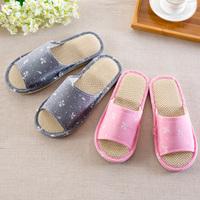 [包邮] 韩版居家印花亚麻棉拖鞋