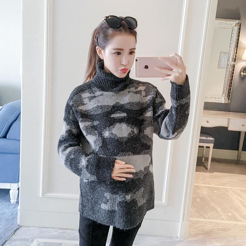 HOTMOM孕妇装秋冬上衣2016韩版套头针织衫长袖高领毛衣毛线打底衫