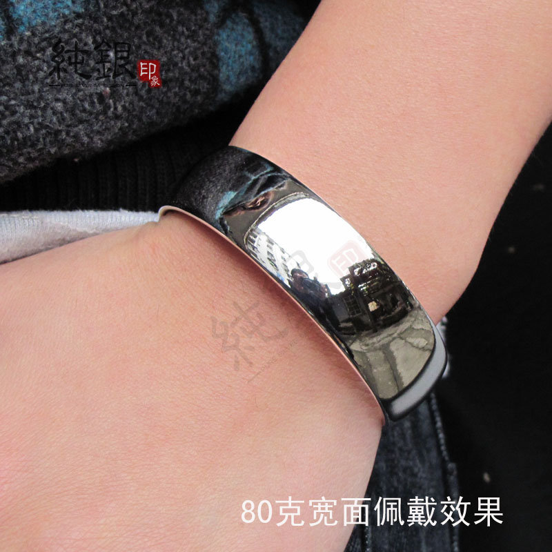 Браслет Серебряные ювелирные изделия стерлингового серебра браслет гладкой браслет в 999 стерлингового серебра браслет моды простых стерлингового серебра ручной работы