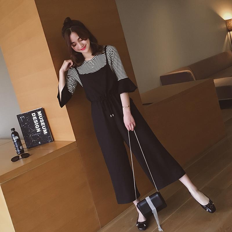 小谷粒新款2017韩版显瘦 条纹喇叭袖阔腿背带裤套装