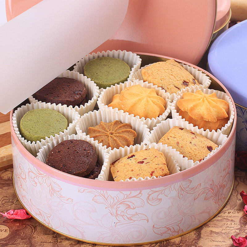 登京曲奇饼干580g铁罐礼盒装 6口味纯手工饼干进口原料休闲零食品