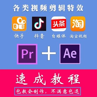 pr速成视频教程抖音快手火山微视特效视频教程PR剪辑剪片AE教程