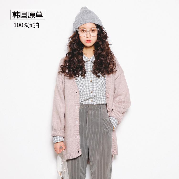 韩国代购秋冬新款上衣中长款大码宽松针织开衫大毛衣女外套潮学生
