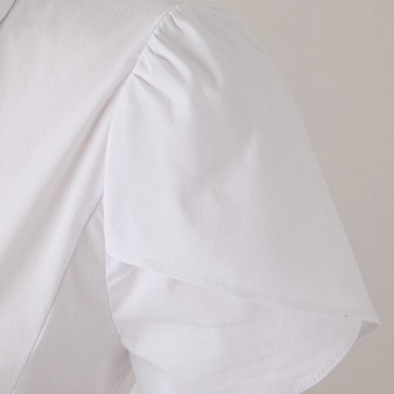 женская рубашка 3309 2013 Повседневный Короткий рукав Однотонный цвет 2013 года Стразы, С бисером Отложной воротник Один ряд пуговиц