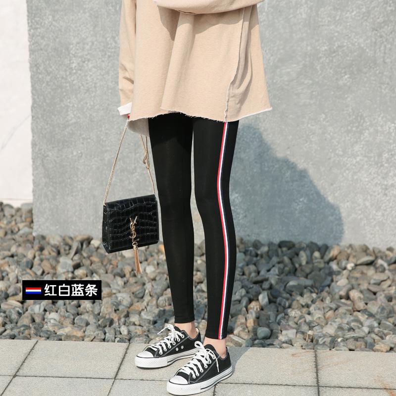 2017春季新款韩版运动风条纹打底裤纯棉女薄款外穿黑色显瘦九分裤