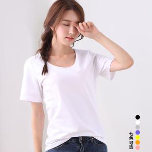 纯棉白色打底衫短袖t恤女 夏季V领大码宽松百搭韩版纯色半袖体恤