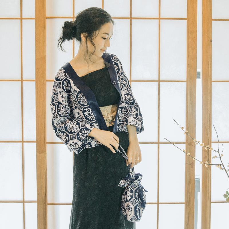 梅子熟了 2017春装新款 复古和风日式开衫 文艺印花日系短外套女