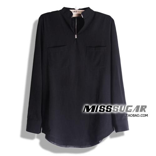 женская рубашка ms2012819 MissSugar городской стиль длинный рукав однотонный цвет осень 2012 воротник-стойка