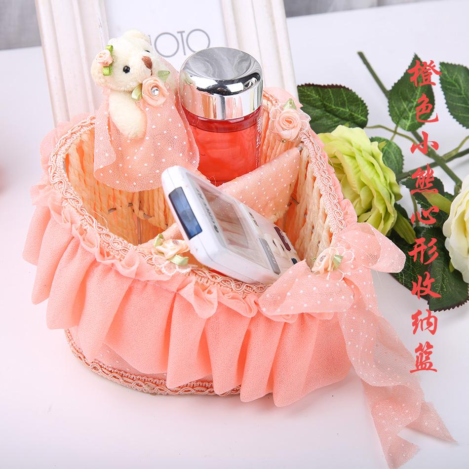 Цвет: Корзина в форме сердца хранения оранжевый Мишка