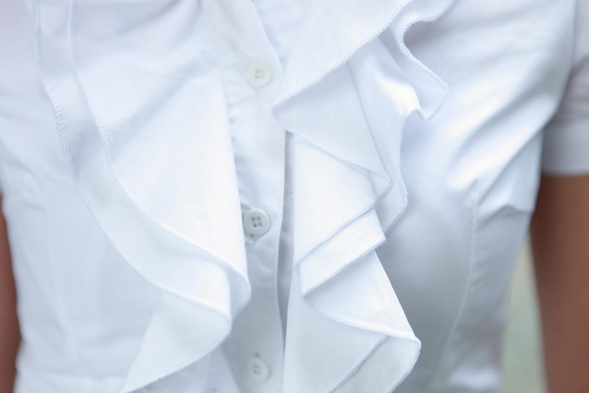женская рубашка Aonfei c3605 2013 Повседневный Короткий рукав Однотонный цвет Лето 2012 Оборка Отложной воротник Один ряд пуговиц