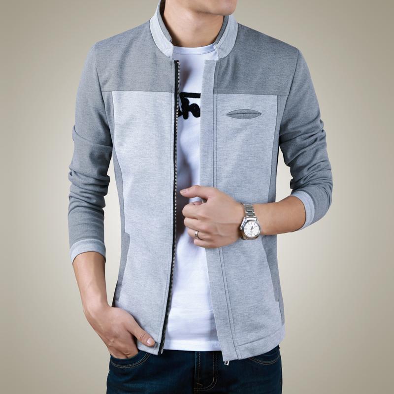 男装春秋装韩版休闲男士夹克衫修身薄款立领秋冬装上衣服开衫外套