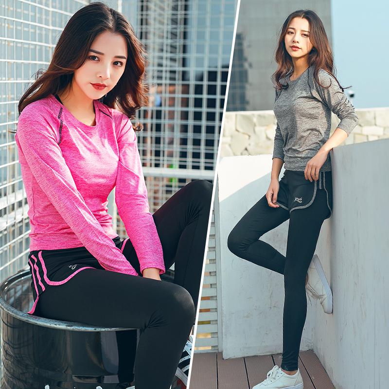 瑜伽服套装秋冬显瘦跑步健身服女三件套宽松韩国速干长袖运动套装