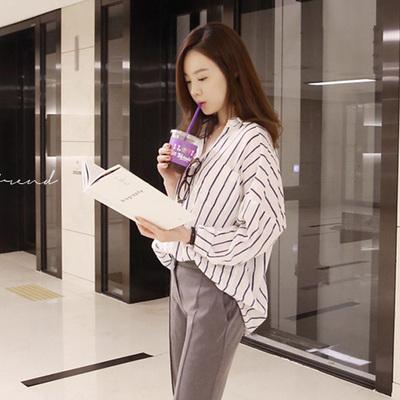 竖条纹棉麻衬衫 韩范学院风