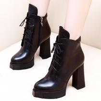 迈妍2016秋冬季新款欧美真皮高跟马丁靴潮女短靴粗跟防水台短筒靴