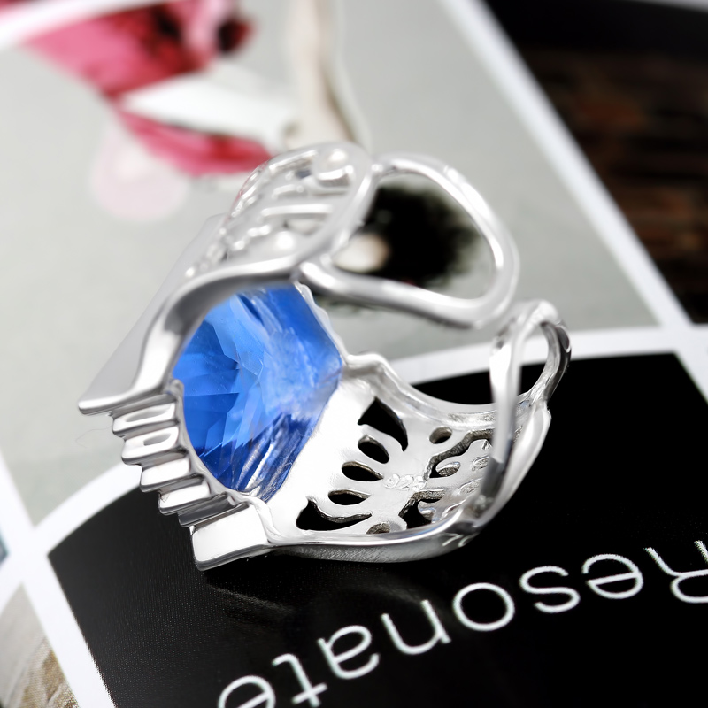 Xingyunshi Sterling Silver Crystal Anime Ornament Unisex Ring