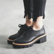 MASOOMAKE简约系带粗跟厚底鞋子女圆头 2017新款春季高跟单鞋女鞋