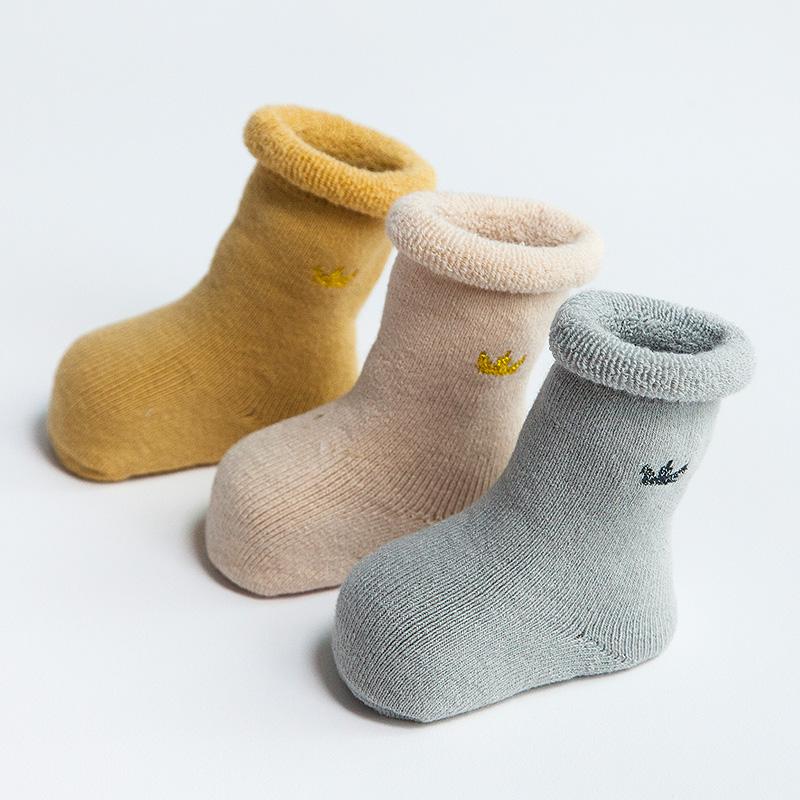 0-3-6-12个月新生儿A类92%纯棉1-3岁宝宝秋冬季加厚保暖婴儿袜子