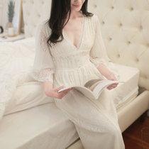 甜美公主性感诱惑蕾丝V领睡裙七分袖莫代尔宫廷夏季家居服白睡衣