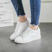女鞋2017春季新款韩版内增高真皮小白鞋女系带休闲鞋坡跟百搭单鞋