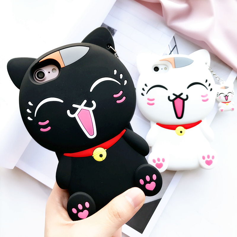 送同款吊坠 可爱招财猫iphone6plus手机壳苹果7猫咪硅胶套6s女款