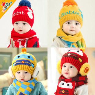 婴儿帽子秋冬季婴幼儿男童女宝宝护耳儿童围巾保暖加绒厚可爱超萌
