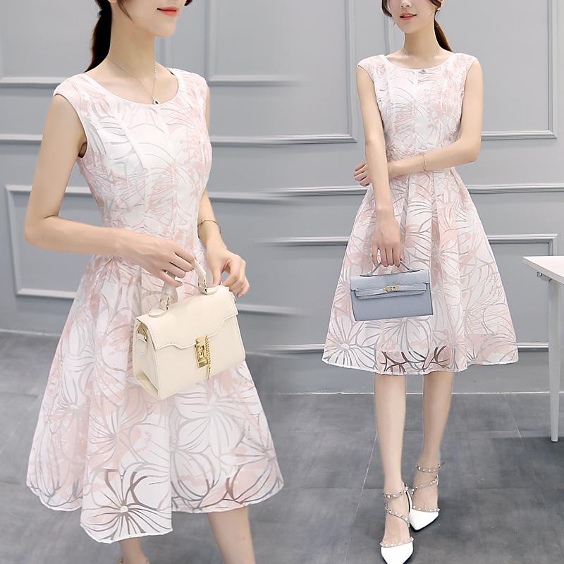 2016新款女装夏韩版修身高腰中长款连衣裙女无袖印花白色欧根纱裙