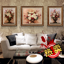 Recommend sofa setting wall adornment style restoring ancient ways In the living room mural painting hangs a picture box Blooming flowers