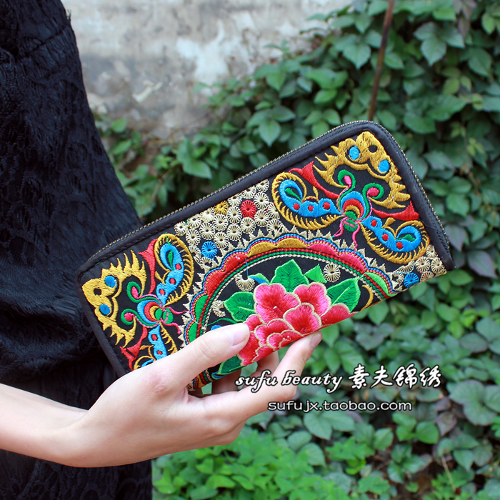 Ethnic-sided embroidery handbag / wallet double zipper embroidered clutch purse handbag embroidered embroidery