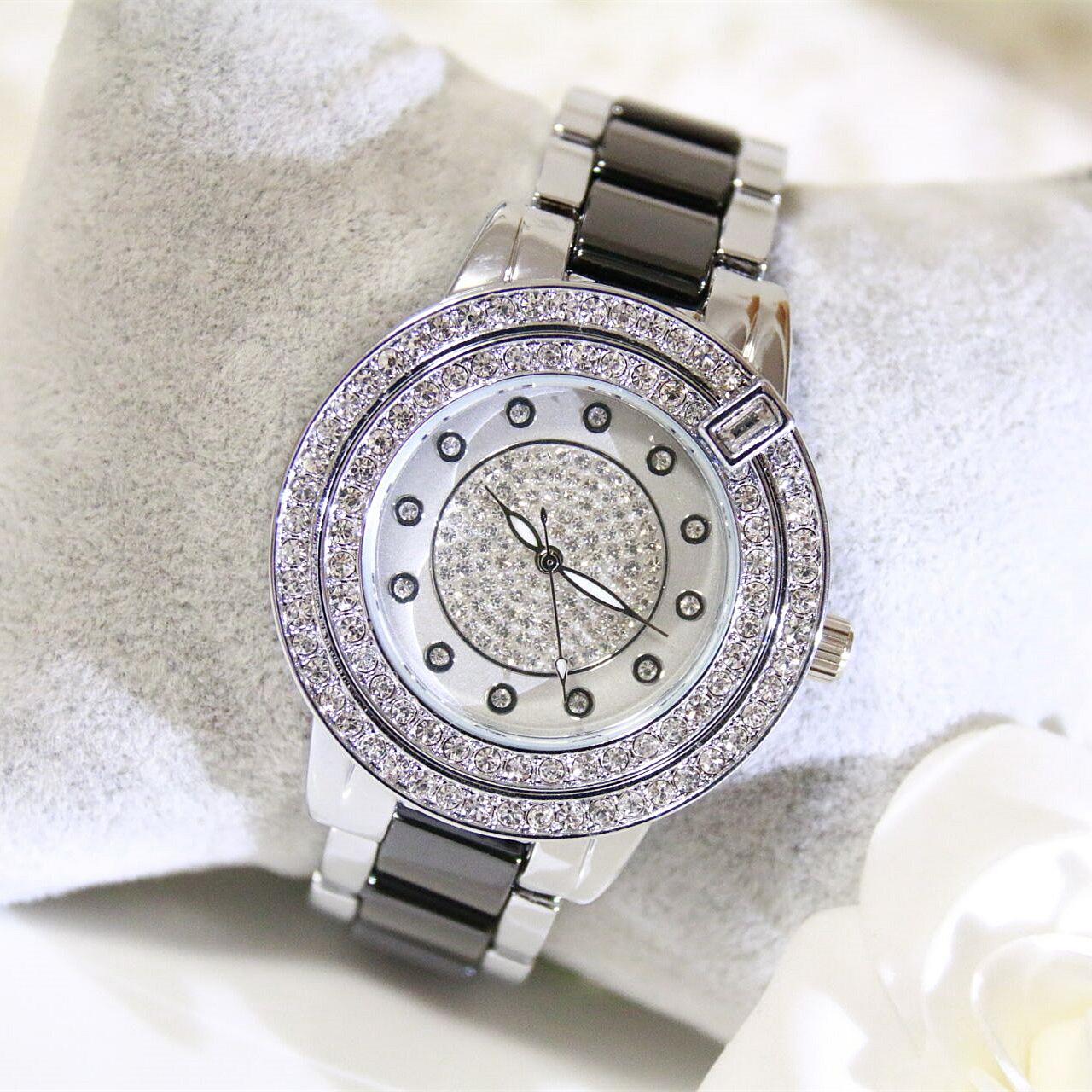 Новый BS подлинный двойное кольцо ручная дрель стол горный хрусталь мисс наручные часы полный алмазов полоса модные тенденции женская форма