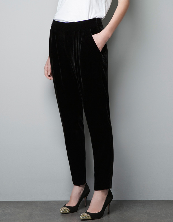 Womens Black Velvet Pants