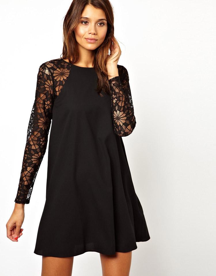 Lace stitching round neck long-sleeved chiffon dress haoduoyi shipping sheds