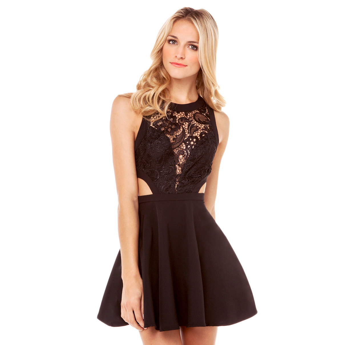 Openwork lace stitching the incision side of the waist back zipper tight skating skirt halter dress haoduoyi