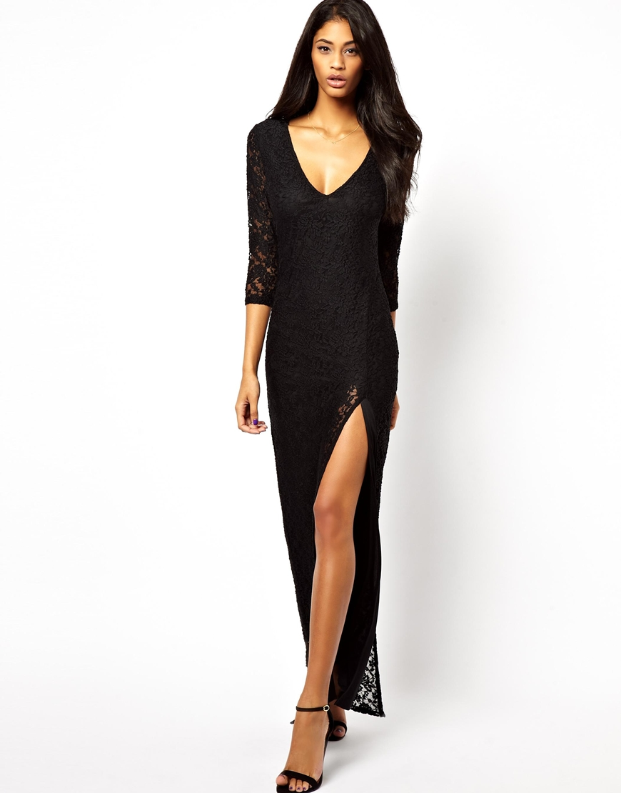Double- sided black lace dress skirt slit and ground deep V long-sleeved lace dress haoduoyi shipping