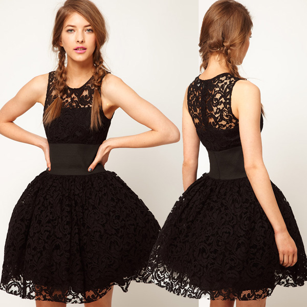 British court style wide belt decorated black lace tutu skirt haoduoyi shipping vest