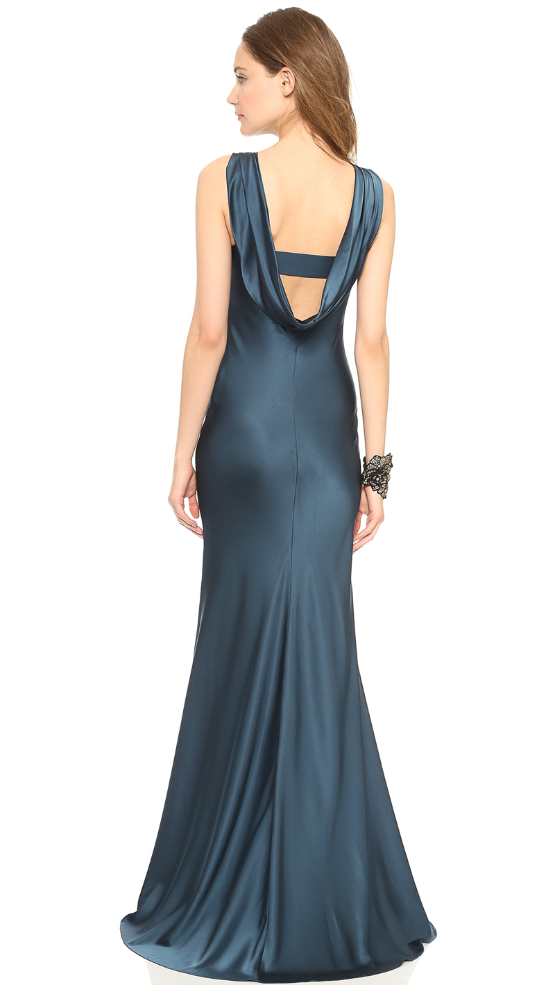 Elegant Gothic style sexy satin draped personal garment back into the swing dress flared dress hanging haoduoyi
