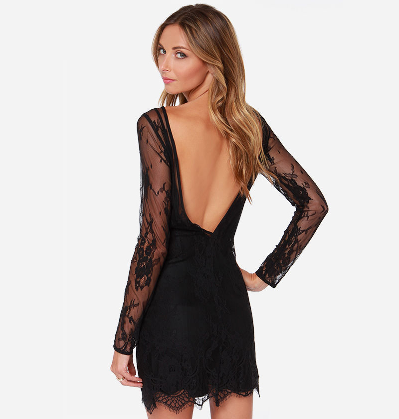 Openwork lace sexy perspective gauze skirt step skirt Slim dress halter v -type haoduoyi shipping