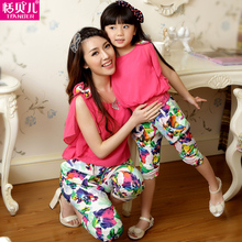 Tian Belle 2014 Parent Cartridge Printing Family Summer Dress New Model Chiffon Mother and Daughter Wear a Suit Three of