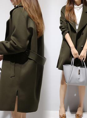 秋冬新款女装韩版呢子大衣茧型中长款羊绒加厚夹棉军绿毛呢外套女