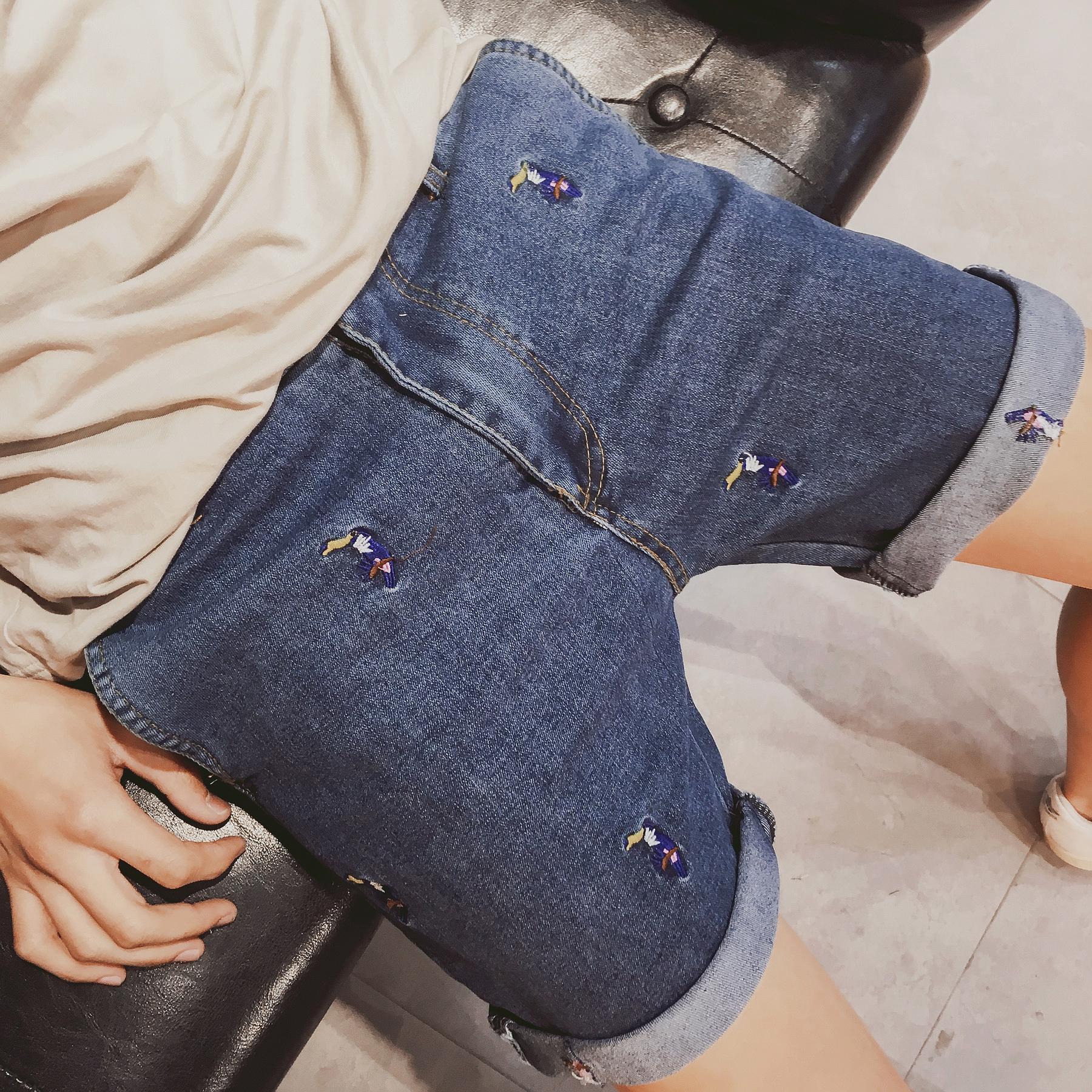 夏季新款男牛仔短裤 日系潮牌男士韩版绣花牛仔短裤潮男牛仔裤子