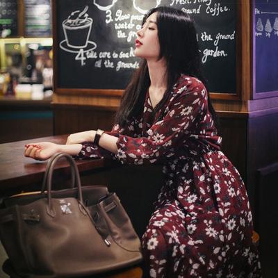 加绒碎花连衣裙女秋冬韩版显瘦大码长袖雪纺内搭加厚保暖打底长裙