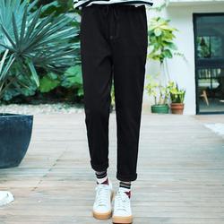 2017春秋直筒裤女长裤黑色高腰显瘦韩版学生百搭休闲裤宽松运动裤