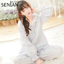 新款韩版小清新格子睡衣女春夏长袖家居服女学生简约淑女睡衣套装