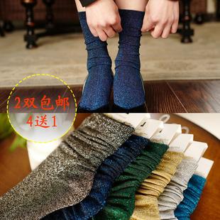 堆堆袜子女2016秋冬新款复古闪光银葱袜日系时尚金银亮丝光打底袜