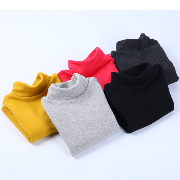 The new autumn and winter children's clothing girls bottoming shirt long-sleeved high-necked T-shirt for children plus velvet backing shirt male female big boy thick winter