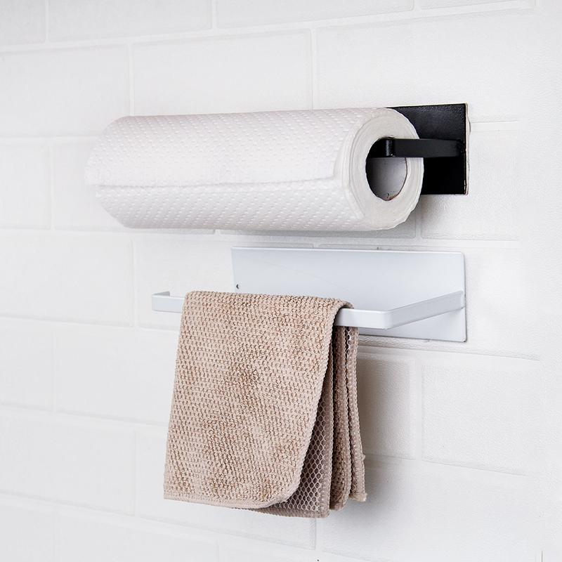 免打孔碳钢纸巾架厨房用纸挂架保鲜膜抹布收纳架粘贴式卷纸置物架