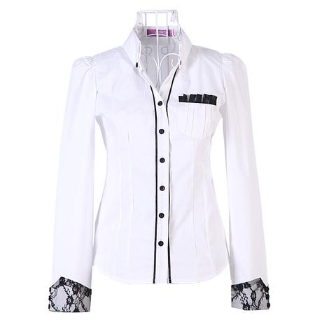 เสื้อเชิ้ต ทำงาน แฟชั่นเกาหลีผู้หญิง ใหม่สวย ลูกไม้อินเทรนด์ นำเข้า ไซส์S/M/L/XL พรีออเดอร์MI508